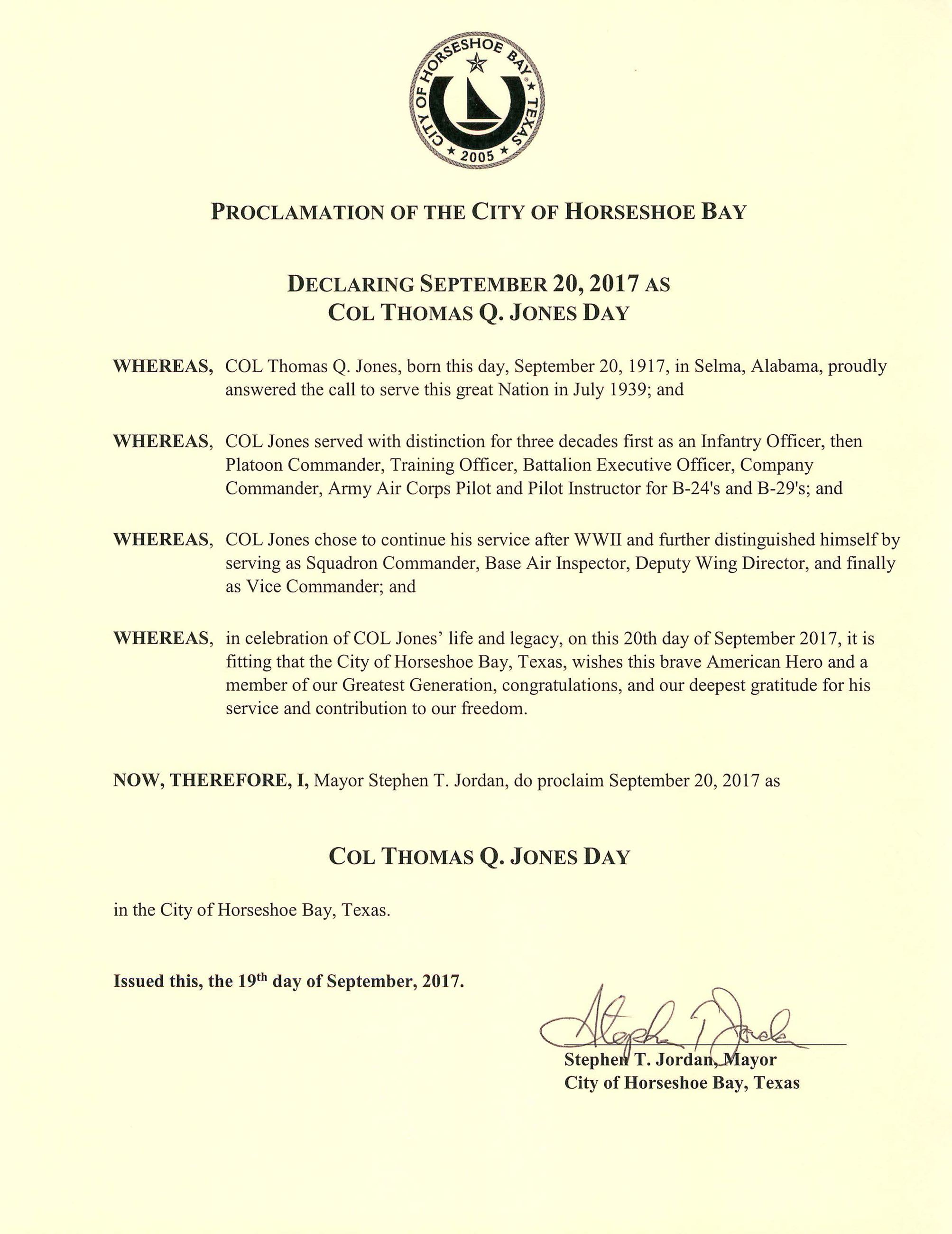 Col Thomas Jones Day Proclamation