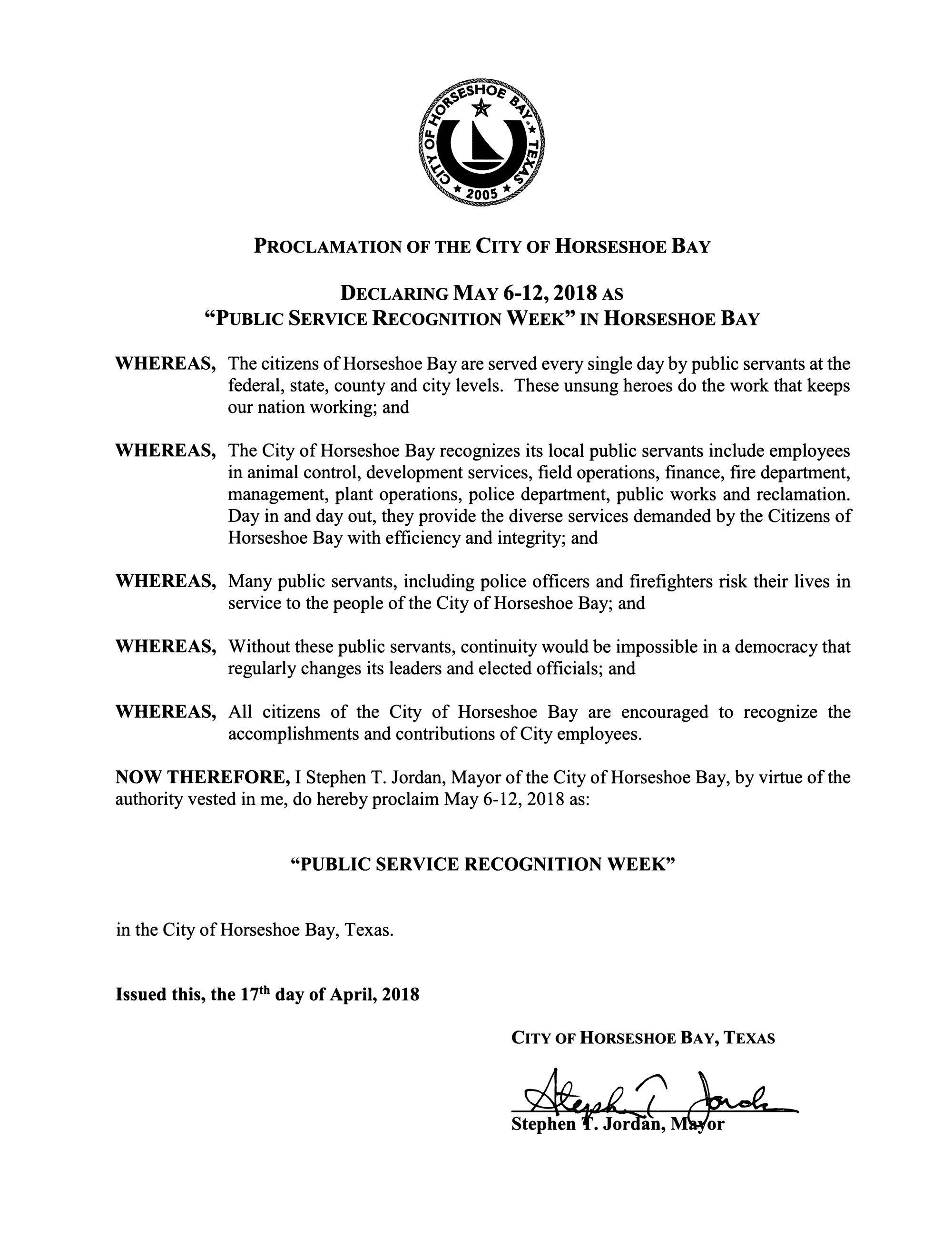 2018 May 6-12 Public Service Recognition Week 04.17.2018