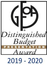 GFOA Distinguished Budget award 2019 - 2020