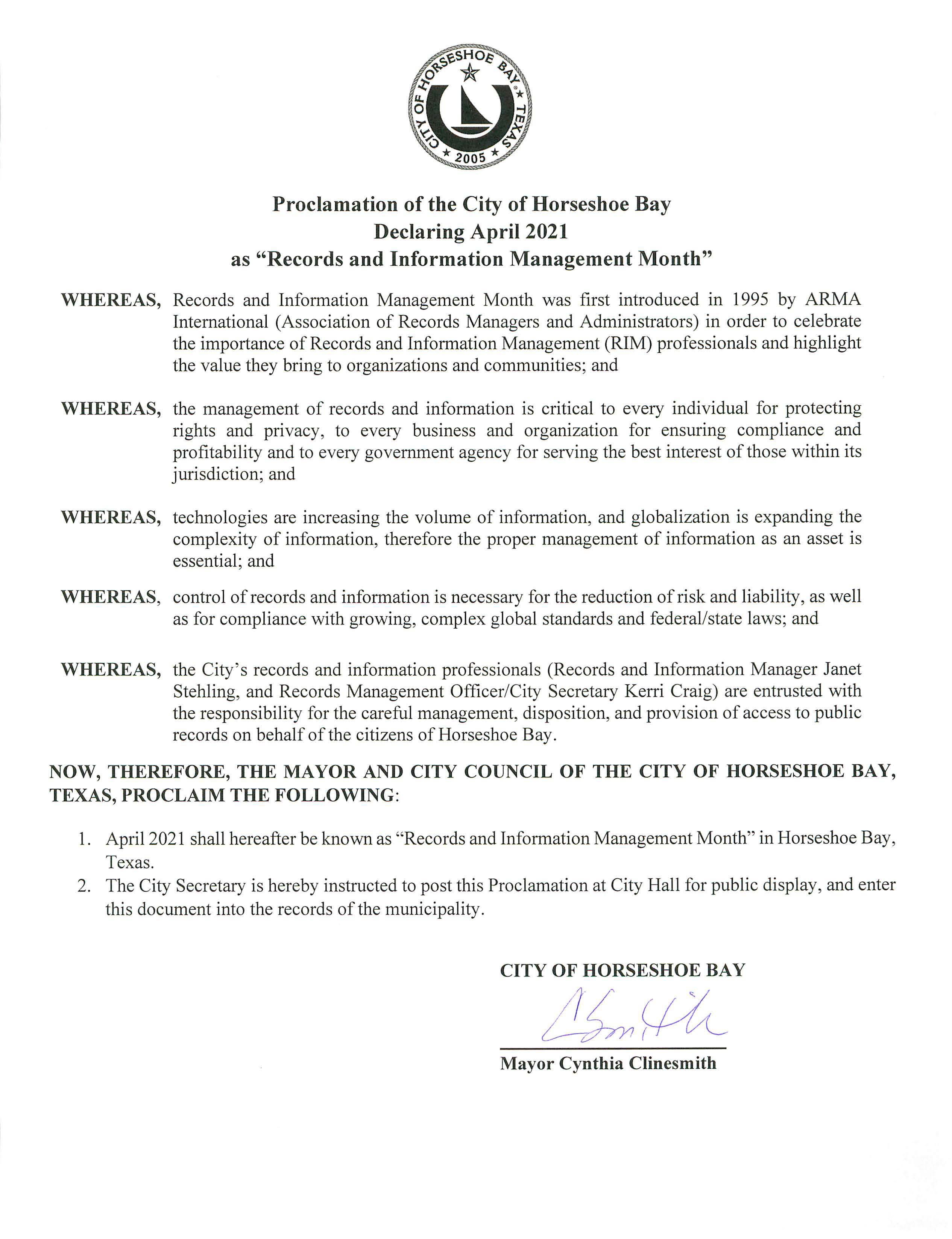 Proclamation Records and Info Mgmt Month