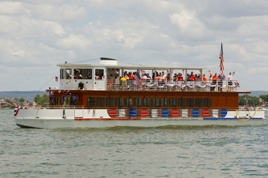 A large Ferri boat decorated in red, white and blue