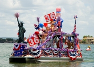 A pontoon boat decorated with lots of 4th of July decorations