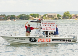 The Police speed boat on the water making sure people stay safe on the 4th of July